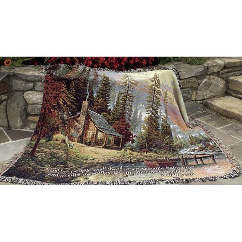 Manual Woodworkers & Weavers Peaceful Retreat Tapestry Cotton Throw