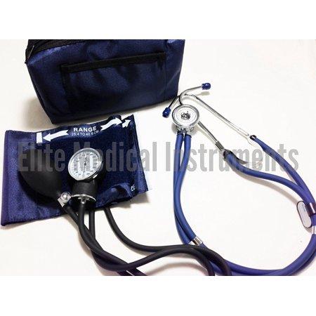 Elite Diaphragm - EMI Sprague Rappaport Stethoscope and Aneroid Sphygmomanometer Blood Pressure Set Kit NAVY - #330