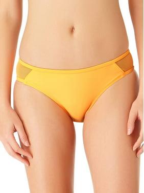 No Boundaries Juniors' Solid Mesh Scoop Swim Bikini Bottom