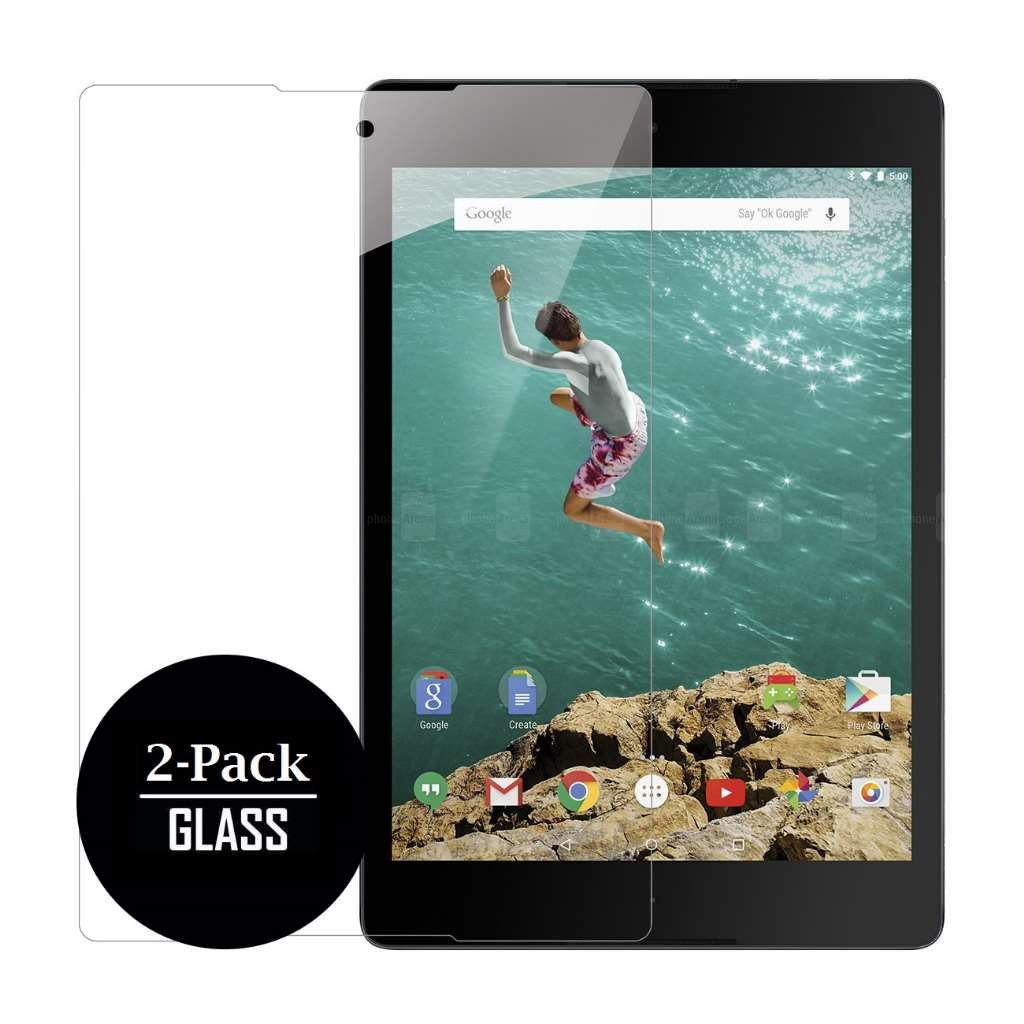 Google Nexus 9 Screen Protector Covers (2 Pack), Bubble Free Oleophoic Coated Tempered GLASS - MPERO