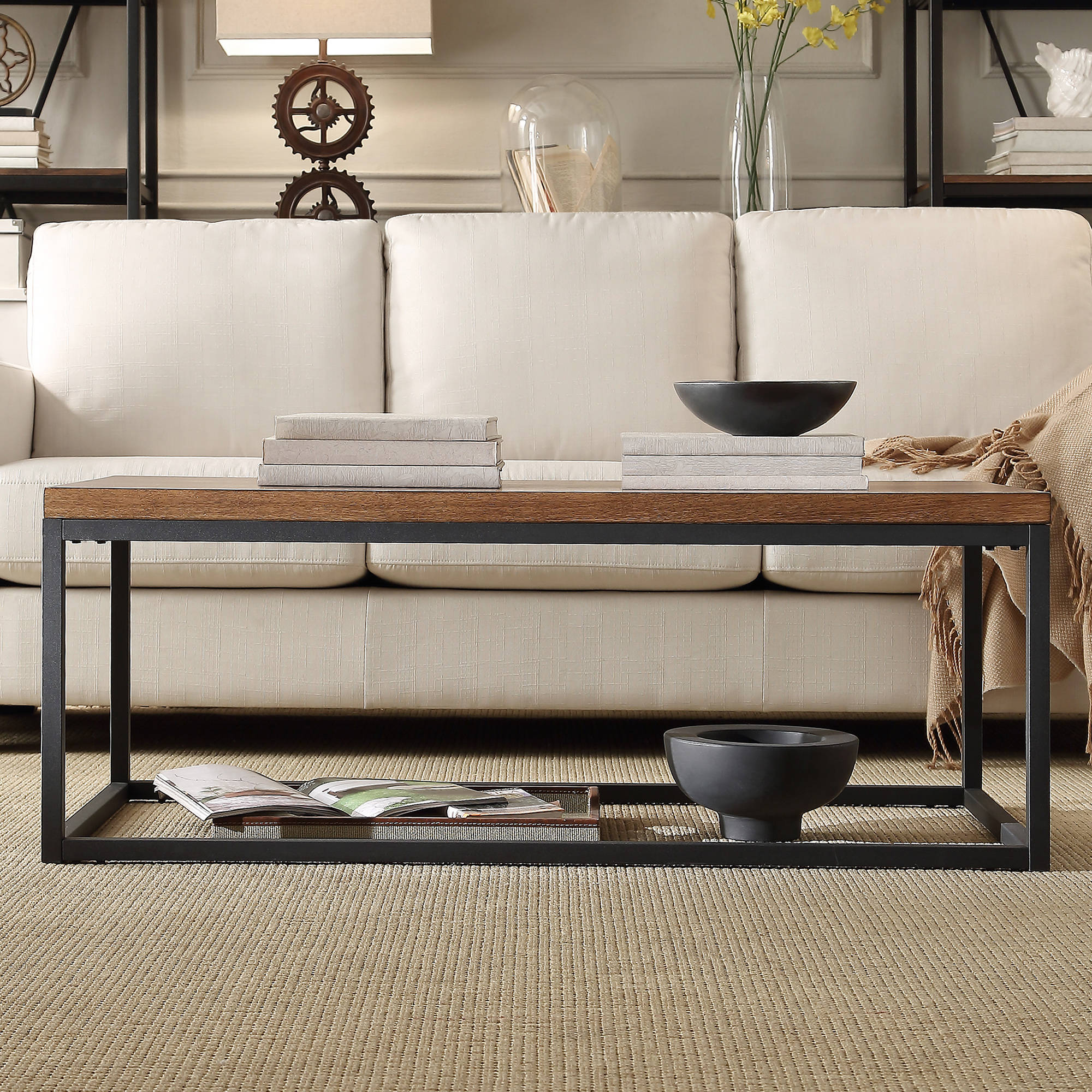 Weston Home Rectangular Cocktail Table, Brown Wood and Black Metal by Overstock