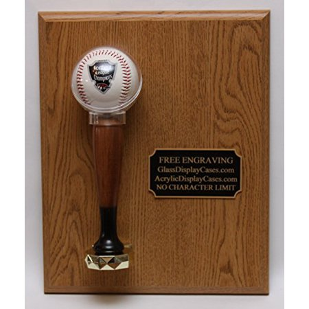 Baseball Personalized Engraved Game Ball Award Trophy Display Case - Wood - Personalized Trophies