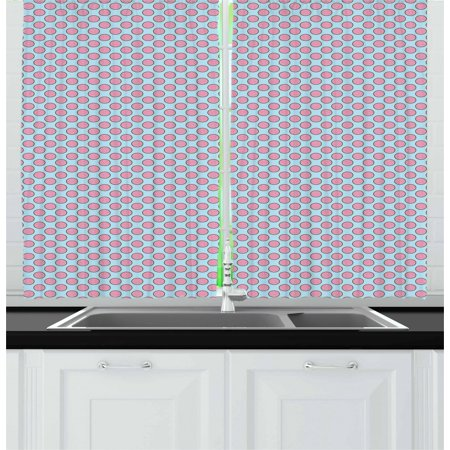 Dessert Curtains 2 Panels Set, Yummy Pie Flat Design Icons Pink Strawberry Jam and Colorful Sprinkles on Top, Window Drapes for Living Room Bedroom, 55W X 39L Inches, Pale Blue Pink, by Ambesonne