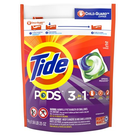 Tide PODS Liquid Laundry Detergent Pacs, Spring Meadow, 31 count
