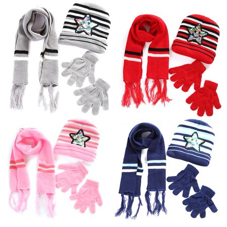 Zerone Paillette Star Winter Warm Hat&Scarf&Glove Set for 6 Months to 4 Years Old Children, Scarf, Gloves - Michael Jackson Hat And Glove For Kids
