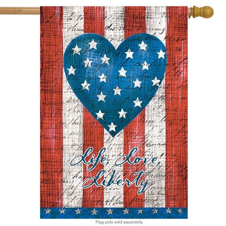 American Heart Primitive House Flag Patriotic 28