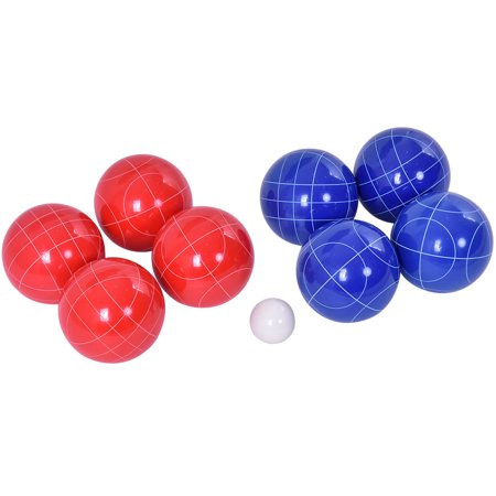 GHP 8-Pcs Full-Size 90mm Red & Blue Bocce Ball Set with White Pallino Object Ball