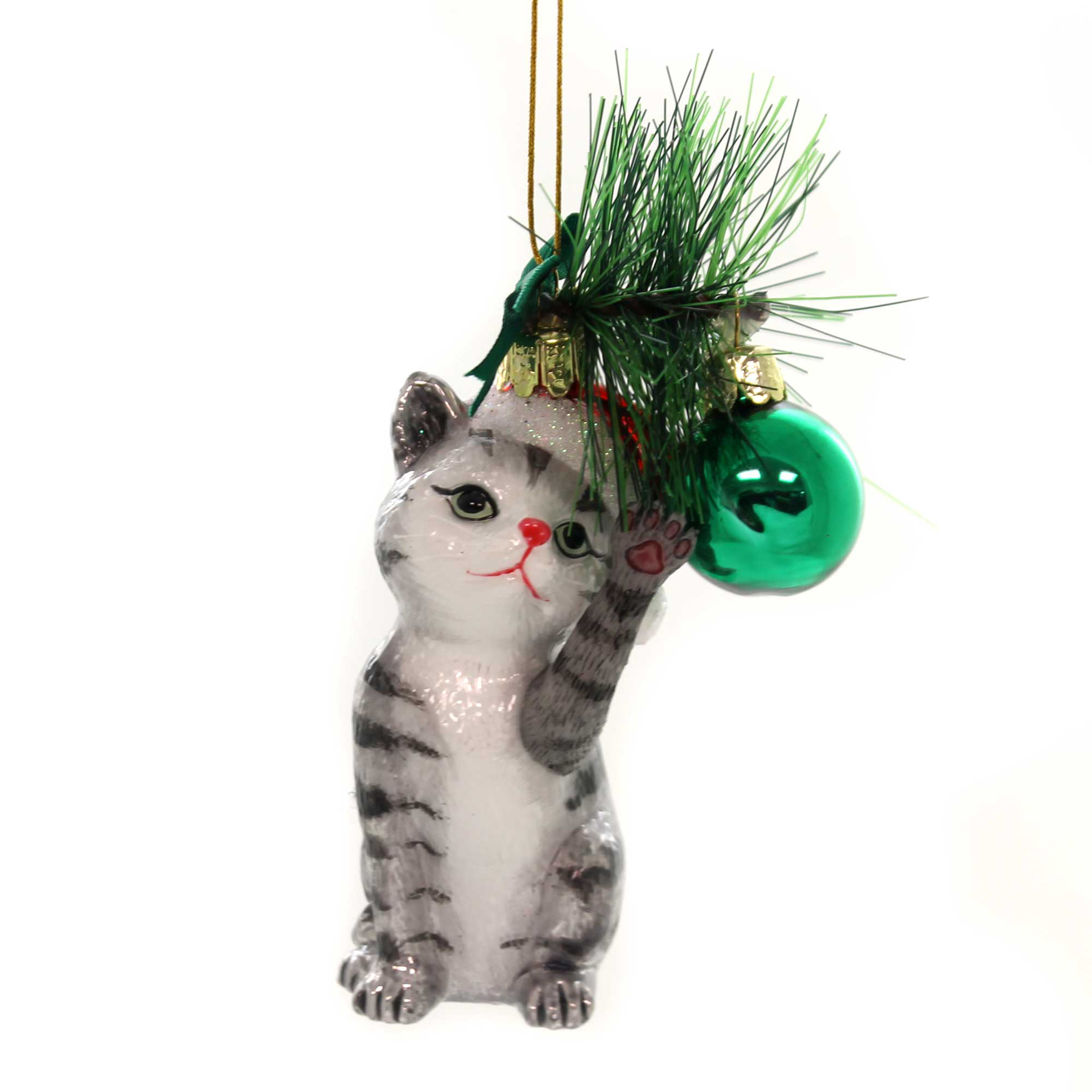 Noble Gems CAT WITH BALL ORNAMENT Glass Kitten Christmas Meow