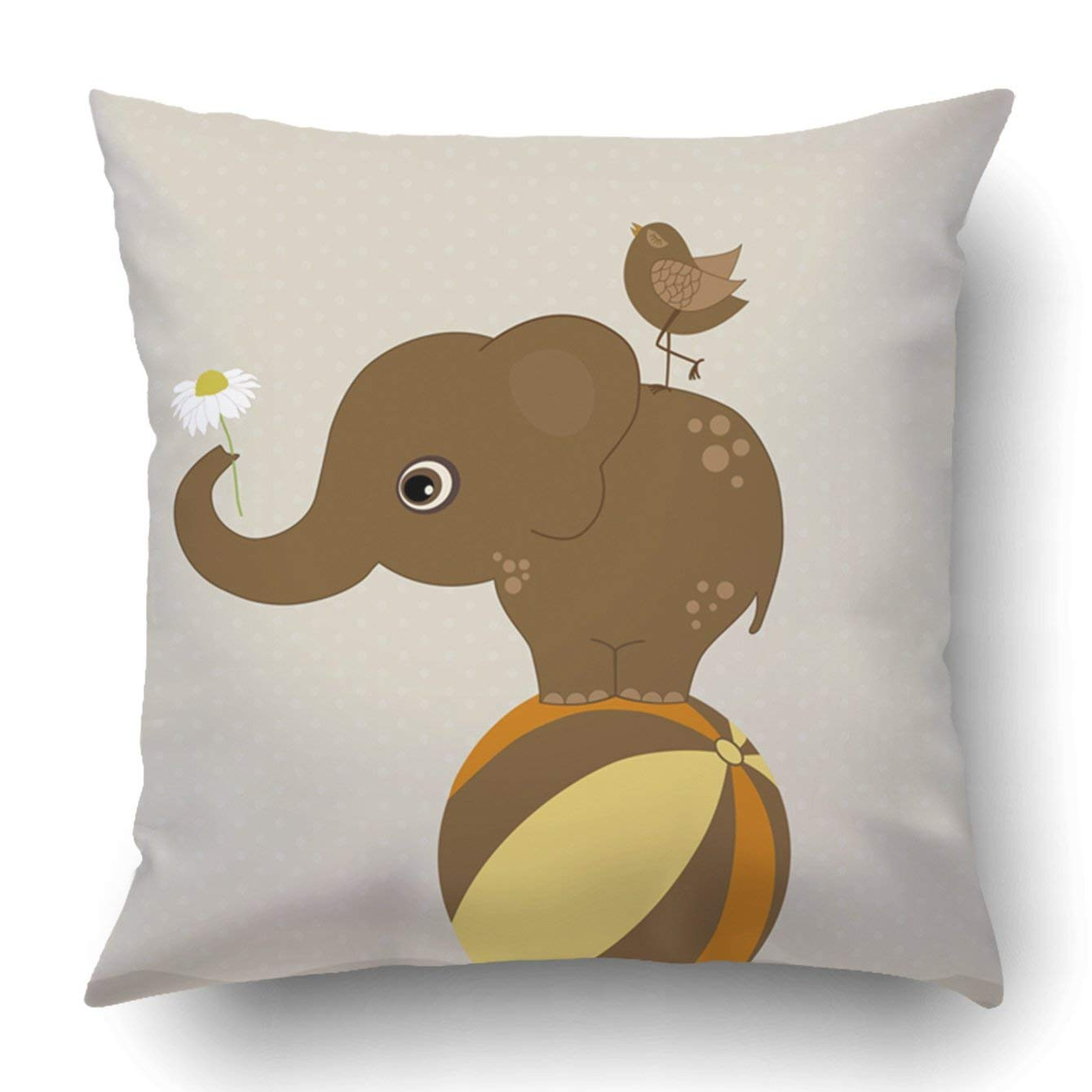 BPBOP Elephant on the ball with a bird on beige Pillowcase Throw Pillow Cover Case 16x16 inches
