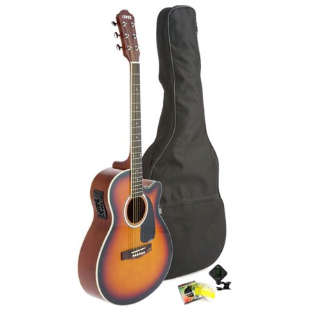 Fever Full Size Jumbo Body Steel String Acoustic-Electric Guitar Sunburst with Bag, Tuner and Strings