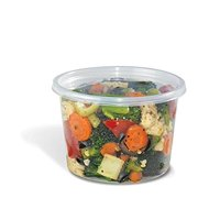 Placon 16RPL, 16 Oz Clear Plastic Round Deli Container with Regular Clear Plastic Lid, Take Out Disposable Catering Food Containers with Matching Lids (100)