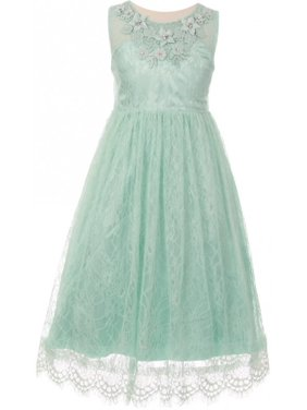 452946c62 Product Image BluNight Collection Little Girl Floral Lace Overlay 3D Flowers  Pageant Party Prom Flower Girl Dress Mint