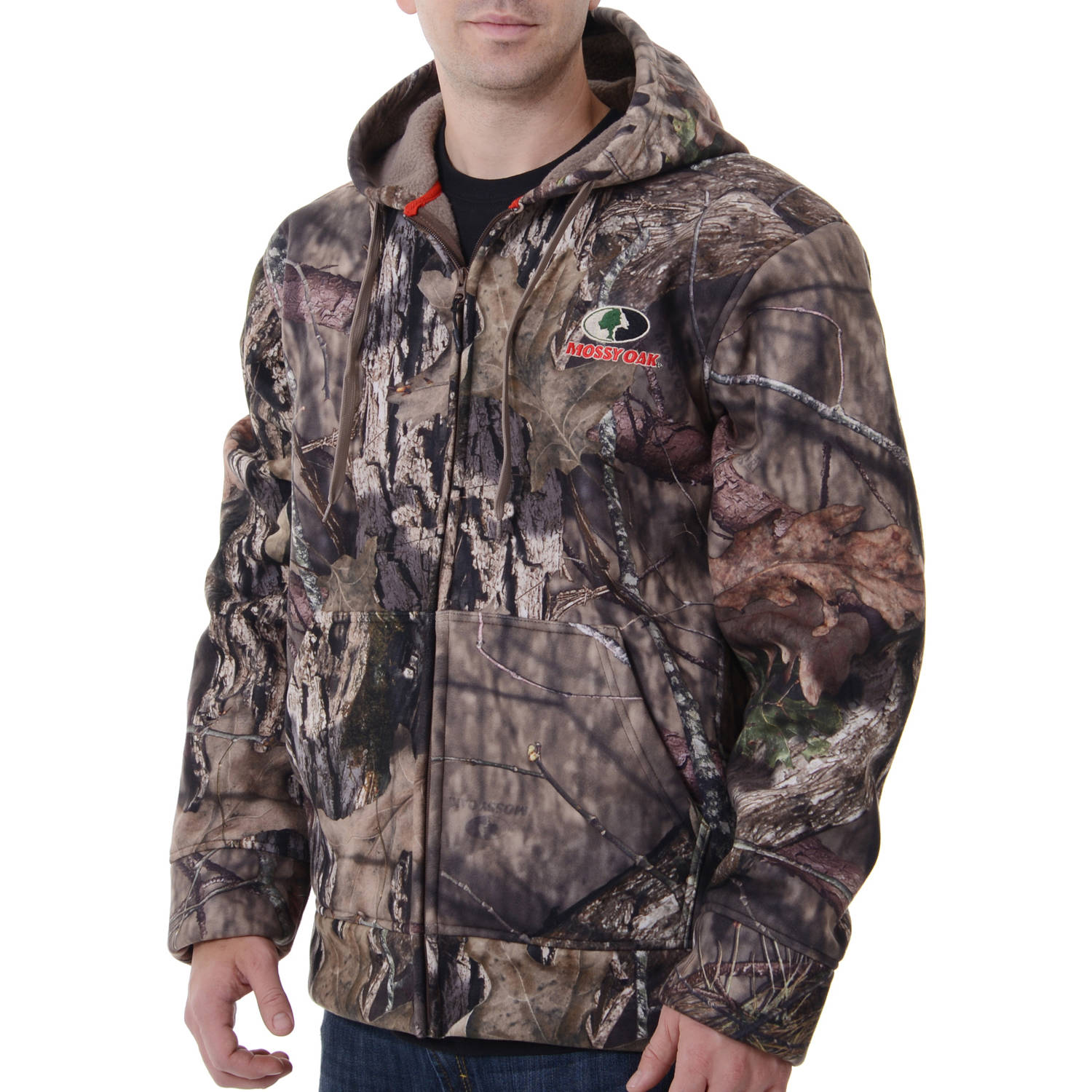 Realtree and Mossy Oak Men's Camo Heavyweight Sherpa Hoddie Jacket