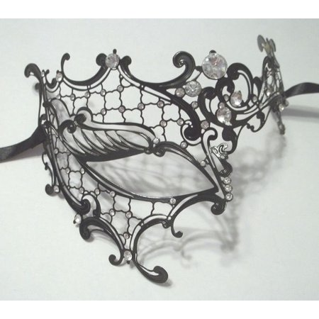 Black Phantom Laser Cut Venetian Half Mask Masquerade Metal Filigree Halloween - Venetian Masquerade Masks On A Stick