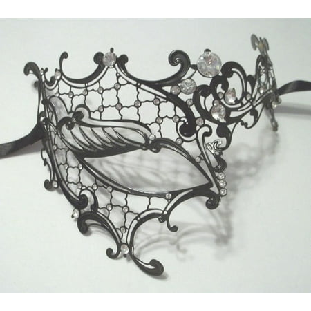 Black Phantom Laser Cut Venetian Half Mask Masquerade Metal Filigree Halloween - Mascerade Masks