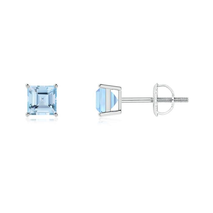 Angara Four Prong Set Square Aquamarine Basket Stud Earrings in White Gold 1rhR93T