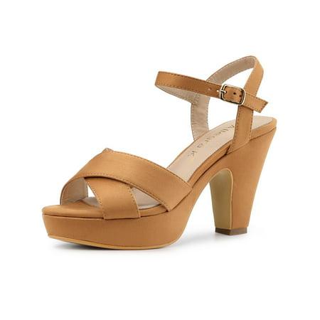 Women's Platform Chunky Heel Slingback Sandals Brown (Size 6) Brown Leather Slingback Heels