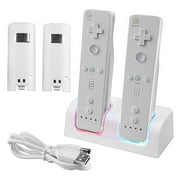 Insten Dual Remote Controller Charger Charging Dock Station + 2 x Rechargeable Battery for Nintendo Wii / Wii U- White