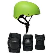 Skateboard Helmet Elbow/Knee/Wrist Pad Combo LARGE Bmx Inline NEON GREEN