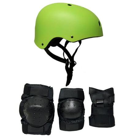 - Krown Skateboard Helmet Elbow/Knee/Wrist Pad Combo MEDIUM BMX Inline NEON GREEN