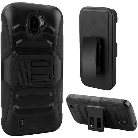 For ZTE Citrine Z716G Hybrid Side Kickstand With Holster Clip - Black+Black