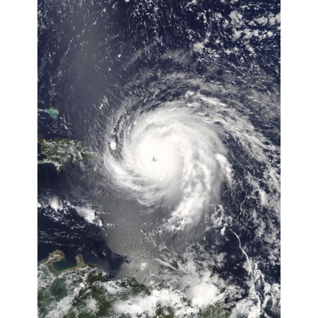 Satellite view of Hurricane Irma over the Leeward Islands and Puerto Rico Poster Print by Stocktrek