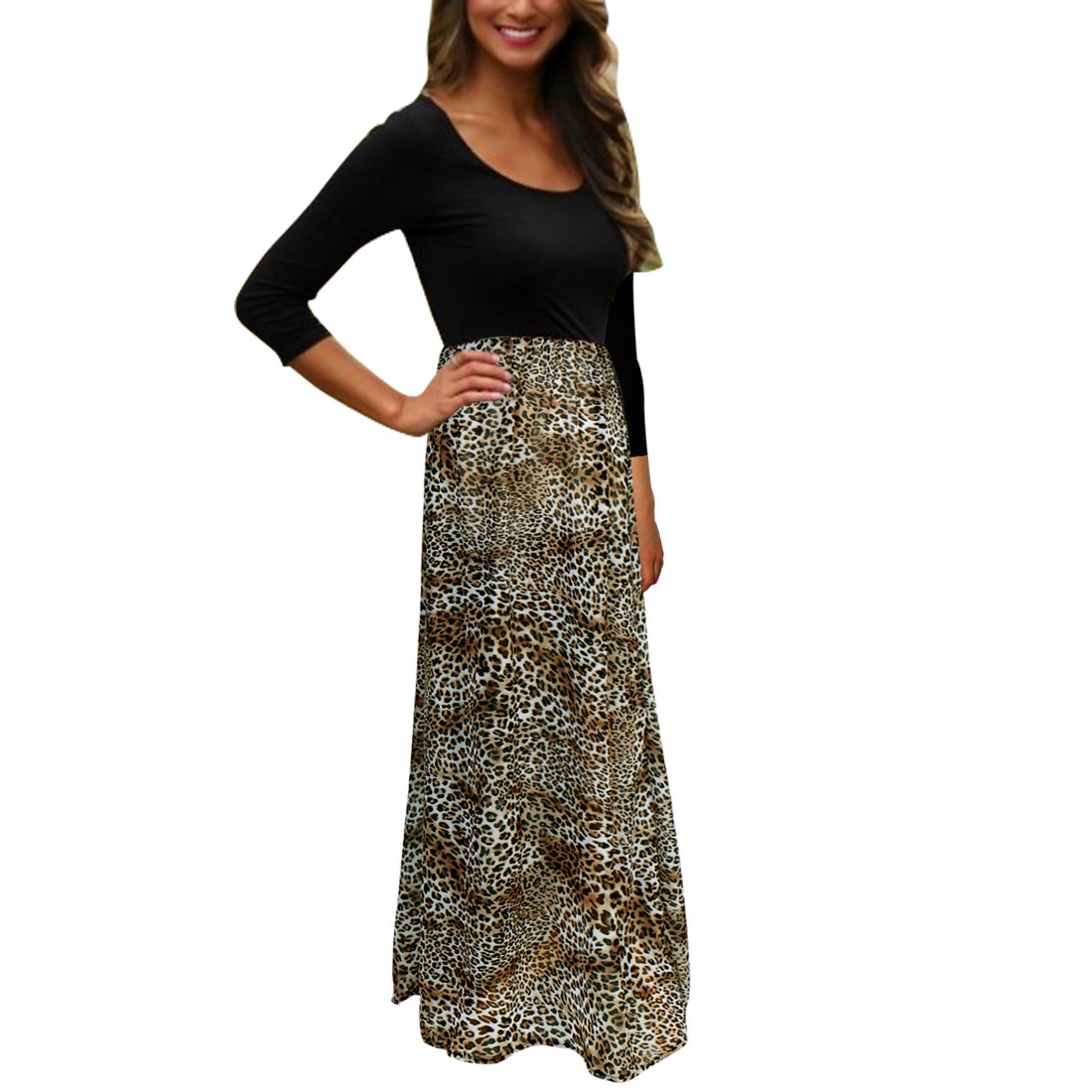 Women's Leopard Print Chiffon Panel Long Sleeves Maxi Dress Black (Size L / 12)