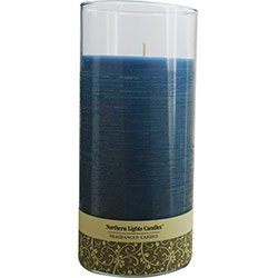 Fresh Linen Scented One 7.5 Inch Glass Pillar Scented Candle With Lid. Burns Approx. 110 Hrs.