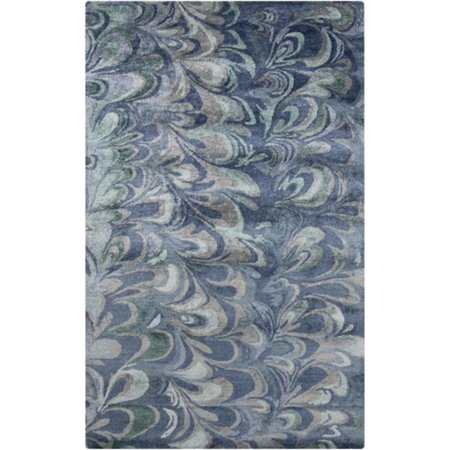 2 X 3 Flowery Waves Ocean Blue And Olive Green Design Hand Tufted Area Throw Rug