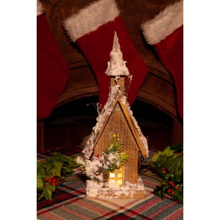 Alpine Corporation Wooden Christmas Birdhouse with LED Lights