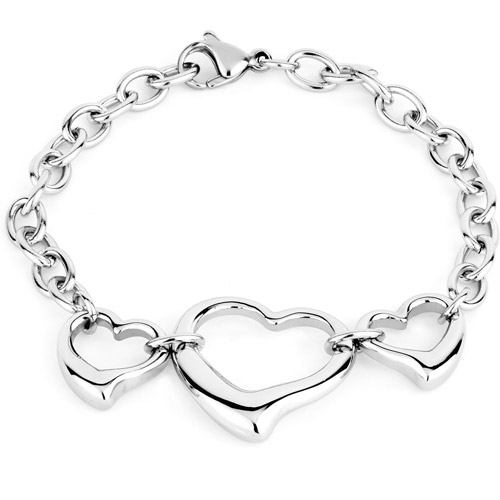 ELYA Stainless Steel Three Open Hearts Charm Bracelet