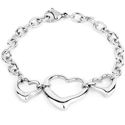 ELYA Stainless Steel Three Open Hearts Charm Bracelet