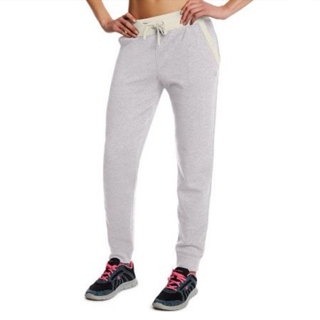 Womens Grey Adjustable Waist Cotton Blend Jogger Sweatpants