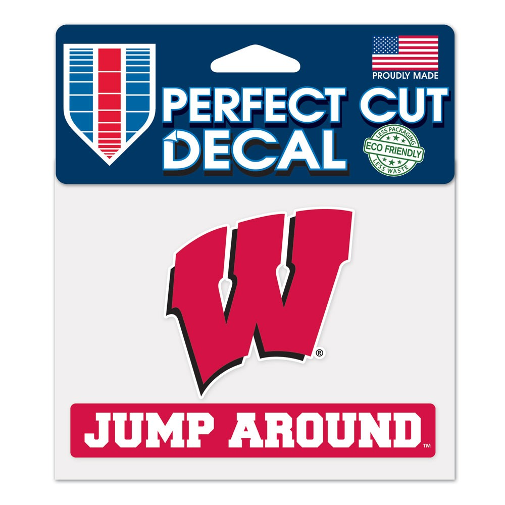 Wisconsin Badgers Official NCAA 4 inch x 5 inch  Die Cut Car Decal by Wincraft