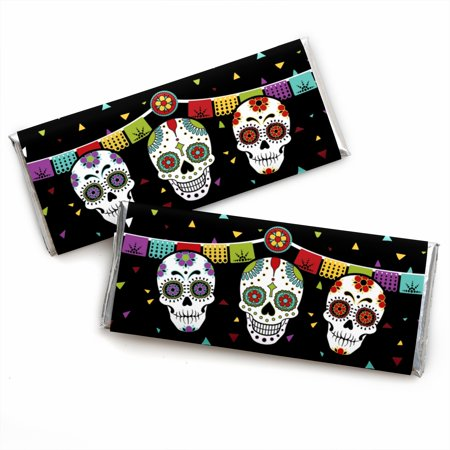 Day Of The Dead - Candy Bar Wrapper Halloween Sugar Skull Party Favors - Set of 24 - Halloween Bar Party Ideas