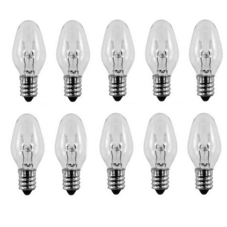 15 Watt, C7 Night Light, 120 / 130 Volt, Clear, E12 Candelabra Base 10 (C7 Clear Candelabra)