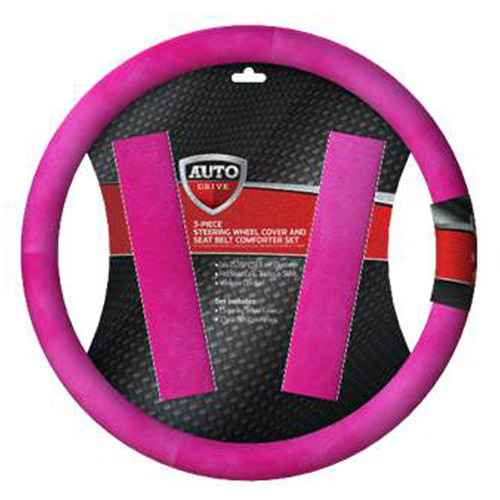 Autodrive Purr SWC and Seat Belt Comforter, Pink