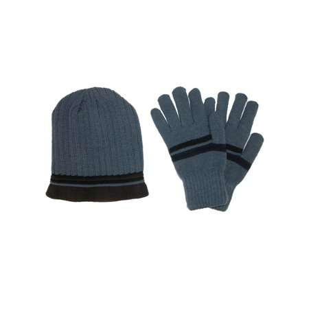 Men's Striped Knit Beanie and Glove Set 100% Acrylic Knit Glove