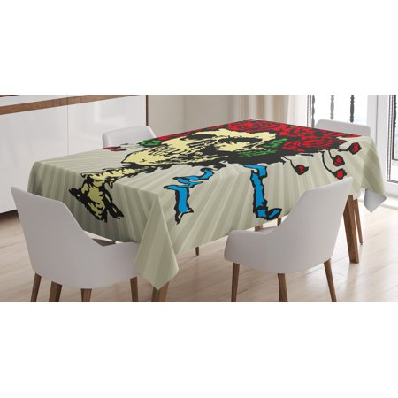 Rose Tablecloth, Tattoo Art Style Graphic Skull in Red Flowers Crown Halloween Composition Print, Rectangular Table Cover for Dining Room Kitchen, 52 X 70 Inches, Beige Multicolor, by Ambesonne - Rotom Halloween