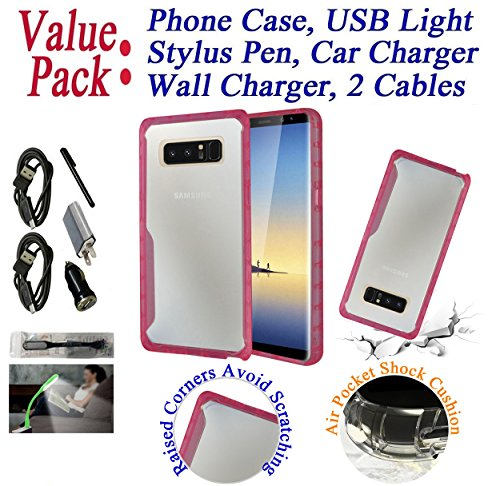 "Value Pack + for 6.3"" Samsung Galaxy Note 8 note8 Case Bumper Phone Case Clear Back Lifted Screen & Camera Raised Corner Shock Slim Skin Cover Pink"