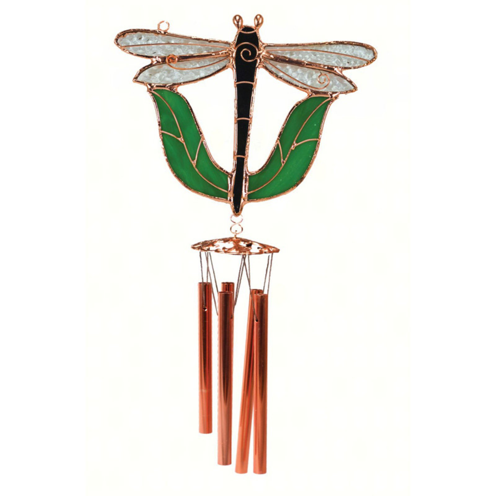 Gift Essentials Black Dragonfly with Leaves Wind Chime