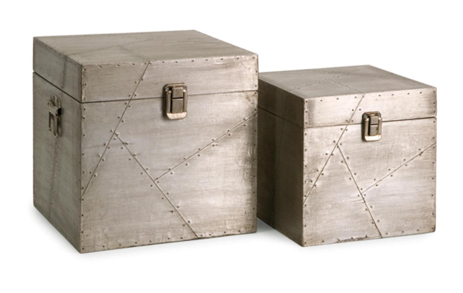 Set of 2 Sleek Industrial-Style Aluminum Storage Trunk Boxes 10  - Walmart.com  sc 1 st  Walmart : aluminum boxes for storage  - Aquiesqueretaro.Com