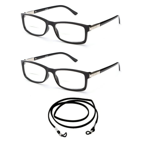 2 Pack Slim Fit Round Spring Temple Bifocal Reading Glasses Black Frame