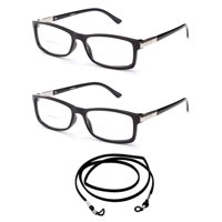 018700fab39 Product Image 2 Pack Slim Fit Round Spring Temple Bifocal Reading Glasses  Black Frame