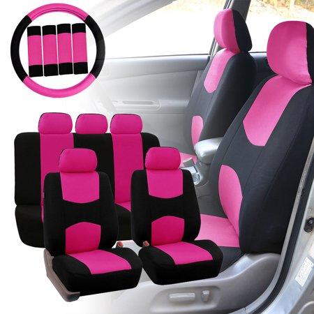 FH Group Car Seat Covers Flat Cloth for Sedan, SUV, Van, Full Set w/ Steering Cover & Belt Pads, Pink Black Flexi Van Flat Car