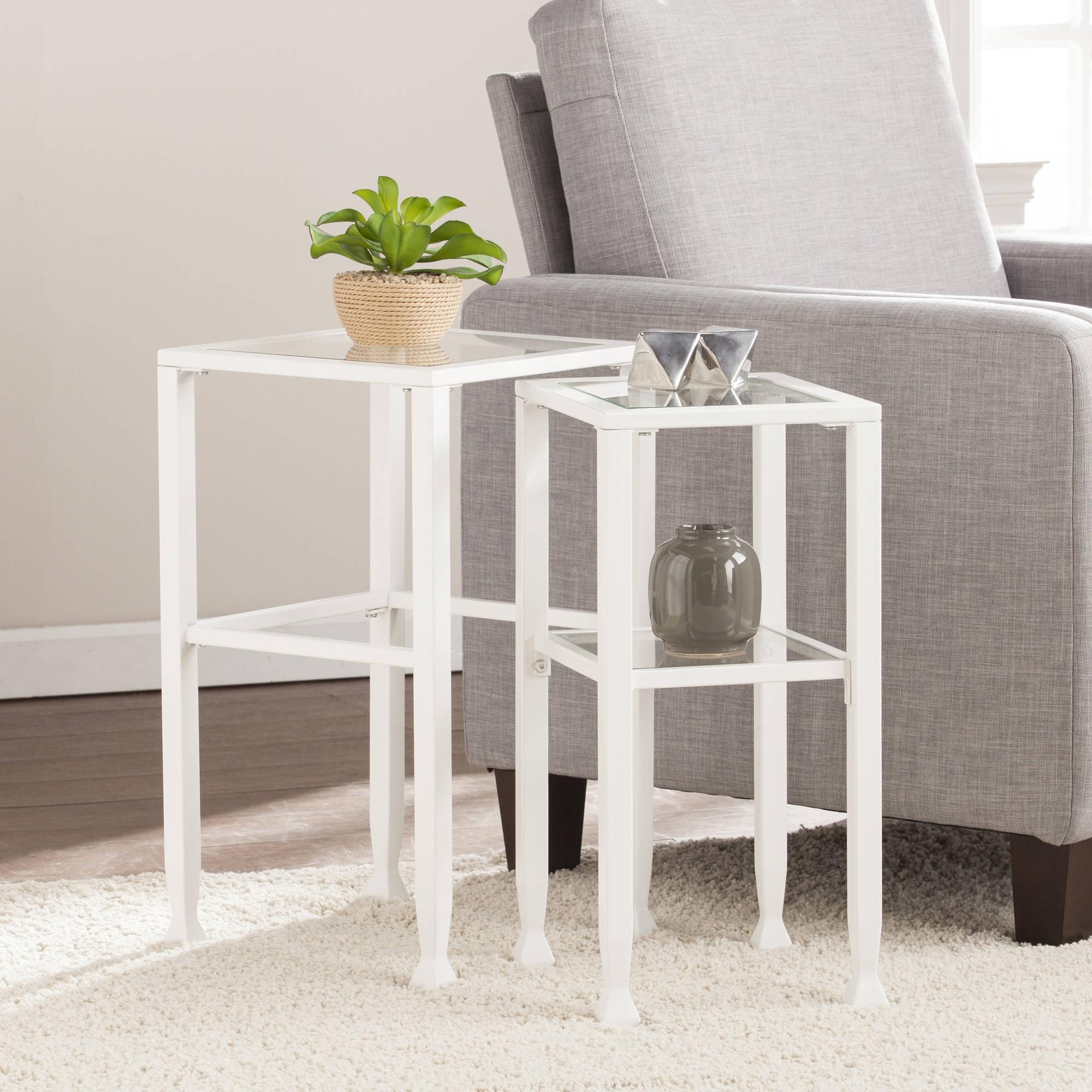 Southern Enterprises Jumpluff Metal/Glass Contemporary 2-Piece Nesting Table Set, White