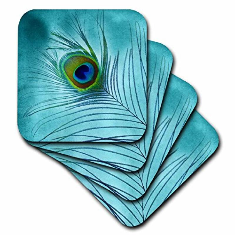 3dRose Peacock Feather on Turquoise Background, Ceramic Tile Coasters, set of 4 by 3dRose