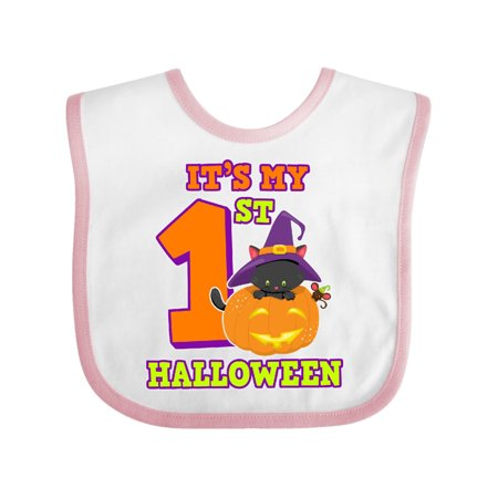 Its My 1st Halloween with Cat Mouse and Pumpkin Baby Bib - Babys First Halloween