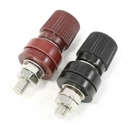 Dark Red Black Plastic Metal Body 5.7mm Thread Diameter Binding Post 2 Pcs (Binding Metal)