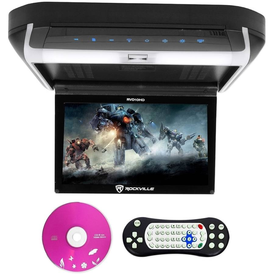 "Rockville RVD10HD-BK 10.1"" Flip Down Monitor DVD Player"